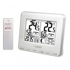 Метеостанция (т-ра и влажность на улице и дома, фазы Луны, часы) La Crosse WS6812-White/Silver (Франция)