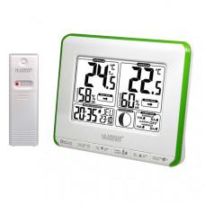 Метеостанция (т-ра и влажность на улице и дома, фазы Луны, часы) La Crosse WS6812-White/Green (Франция)