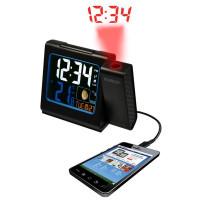 Проекционные часы La Crosse WT551-Black - тепмература, будильник, календарь, фазы Луны, подсветка, заряд. моб.