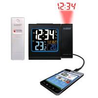 Проекционные часы La Crosse WT552-Black - вн./внеш. тепмература, будил., календарь, внеш. датчик, заряд. моб.