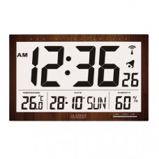 Метеостанция - часы настенная с будильником La Crosse WS8007-WOOD (Франция)